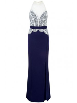 Lace Combined High Slit Prom Dress - Blue And White