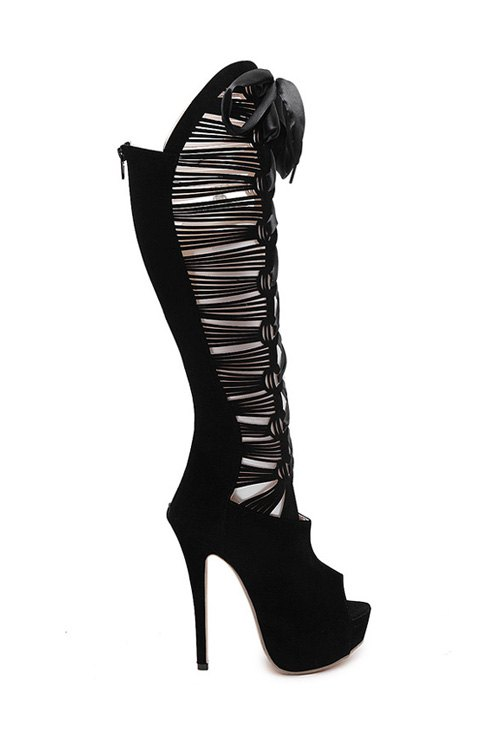 Hollow Out Peep Toe High Heel Boots 170693706