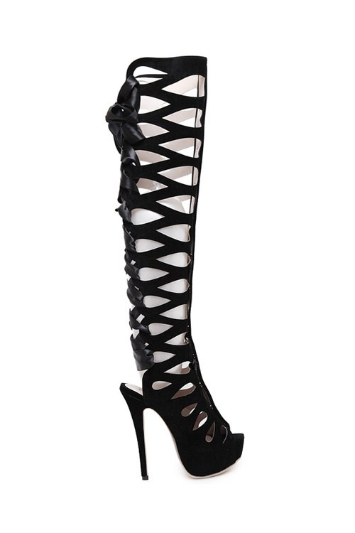 Peep Toe Hollow Out High Heel Boots 170694606