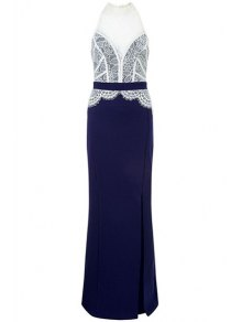 Lace Combined High Slit Prom Dress
