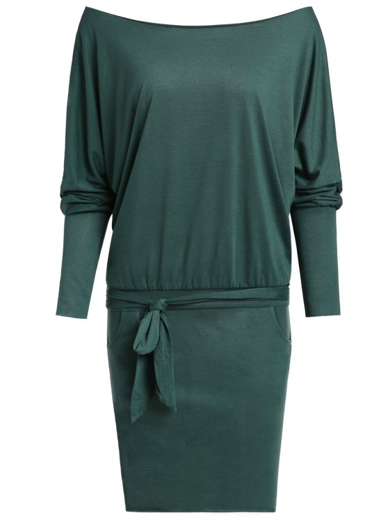 affordable Pure Color Off The Shoulder Long Sleeve Dress - ARMY GREEN S