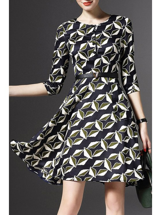 unique Half Sleeve Printed Fit and Flare Dress - COLORMIX M