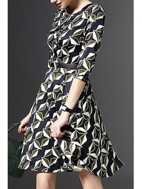 unique Half Sleeve Printed Fit and Flare Dress - COLORMIX M Mobile
