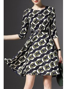 Half Sleeve Printed Fit and Flare Dress