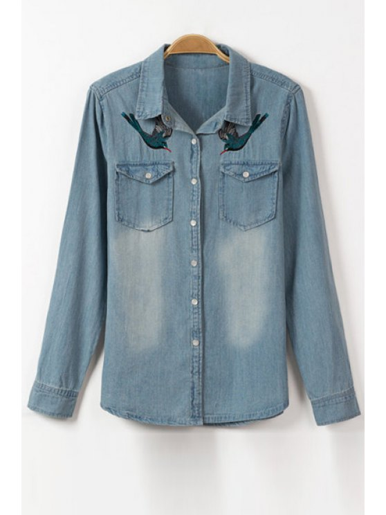 outfits Bird Embroidery Flat Collar Long Sleeve Denim Shirt - ICE BLUE S