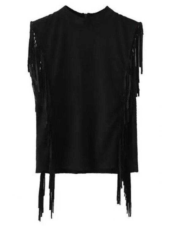Gamuza mangas franjas Medio Cuello de la camiseta - Negro S