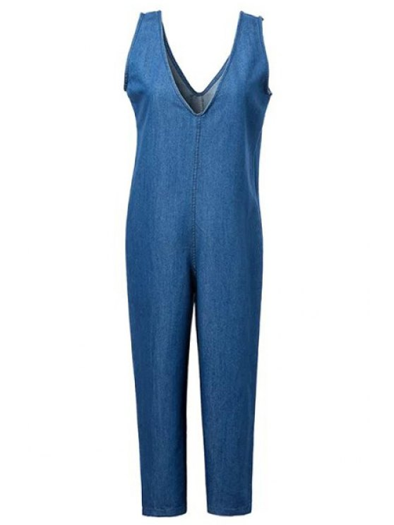 Loose Fitting Plunging Neck Denim Jumpsuit - ICE BLUE M Mobile