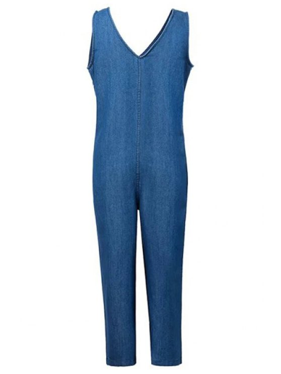 fashion Loose Fitting Plunging Neck Denim Jumpsuit - ICE BLUE M