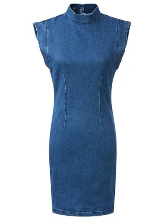 Backless Stand Neck Bodycon Denim Dress - BLUE L Mobile