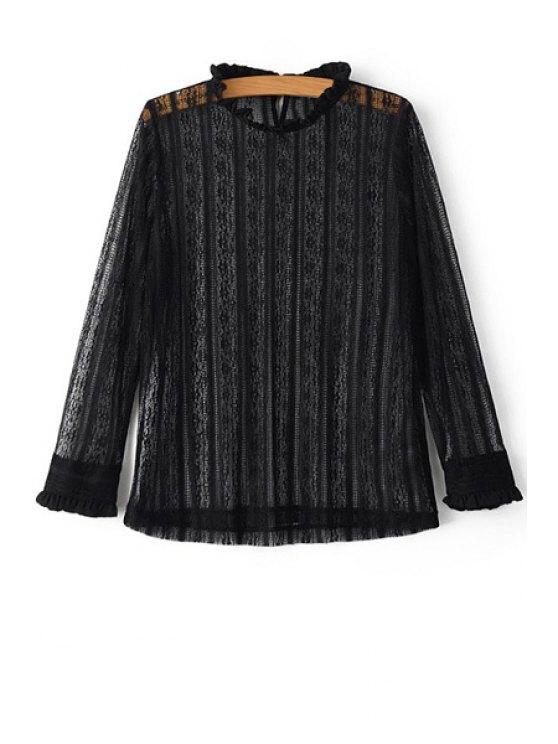 Color sólido cuello rizado largo de la manga del cordón de la camiseta - Negro L