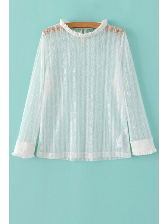 Color sólido cuello rizado largo de la manga del cordón de la camiseta - Blanco M