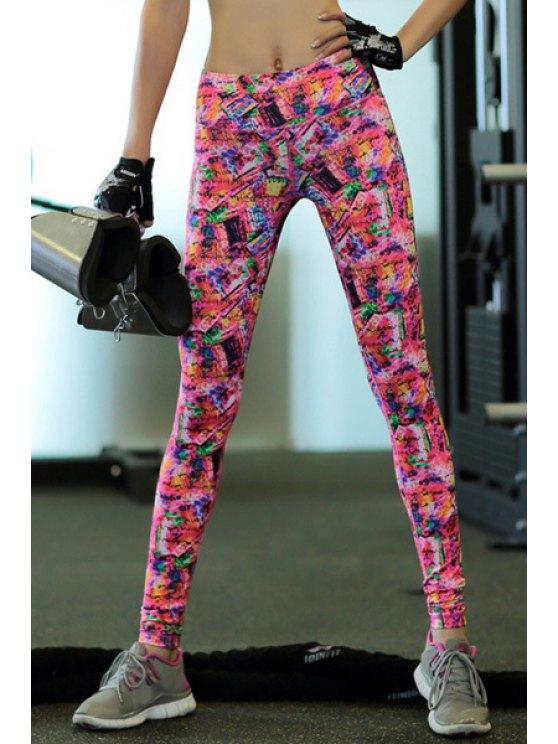 Yoga Pants Trendy haut Stretchy Printed taille élastique Femmes - Coloré L
