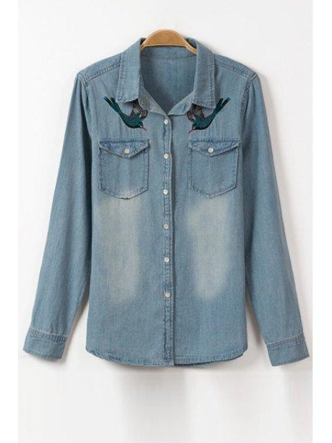 Oiseau broderie col plat à manches longues Chemise en jean - Bleu Glacé S Mobile