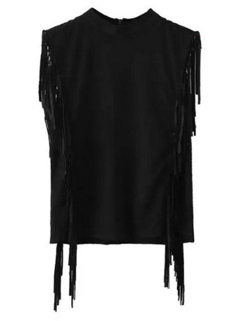 Franges Mock Neck manches en daim T-shirt - Noir S Mobile