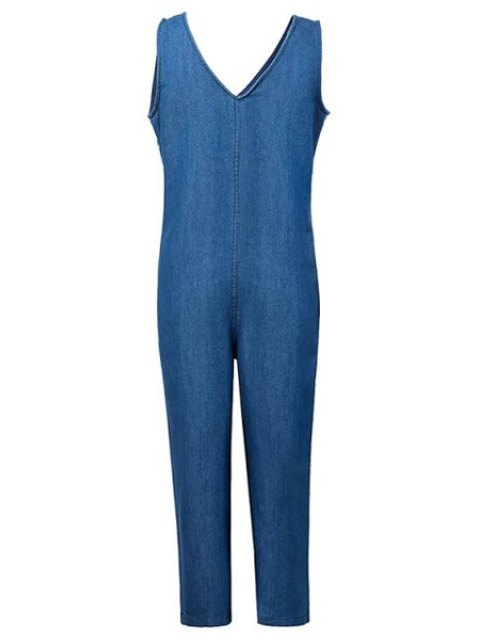 fashion Loose Fitting Plunging Neck Denim Jumpsuit - ICE BLUE M Mobile