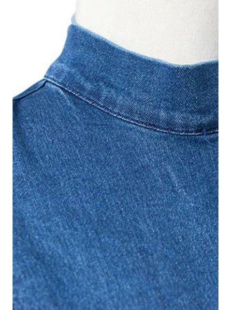 online Backless Stand Neck Bodycon Denim Dress - BLUE L Mobile