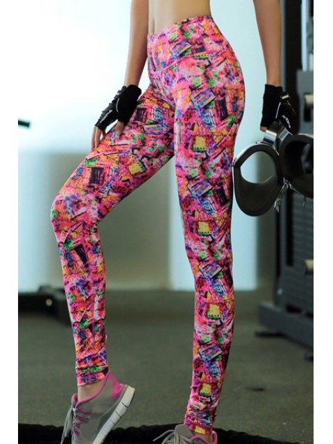hot Printed Skinny Yoga Pants - COLORFUL L Mobile