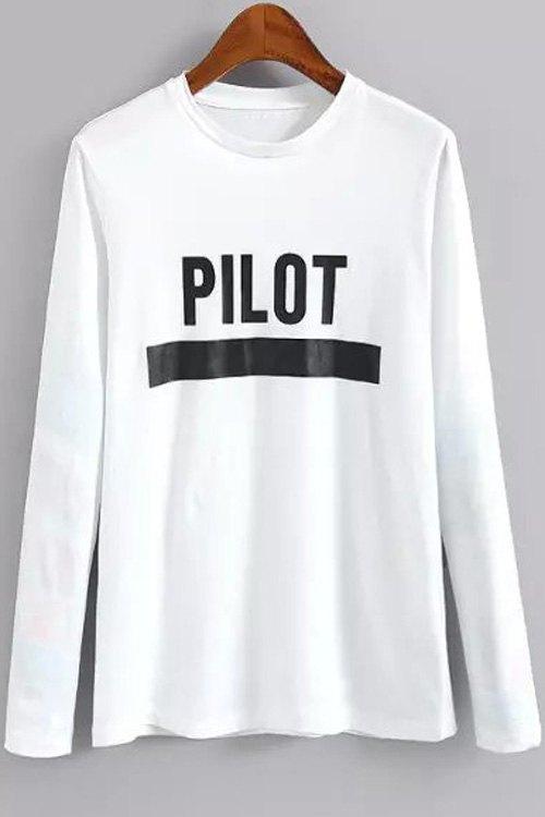 Letter Print Round Neck Long Sleeve T Shirt 170984706