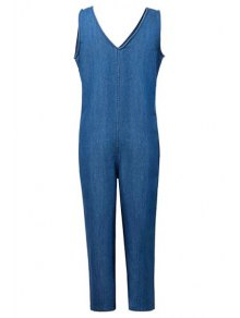Loose Fitting Plunging Neck Denim Jumpsuit