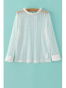 Solid Color Ruffled Collar Long Sleeve Lace T-Shirt