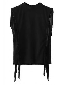 Fringes Mock Neck Sleeveless Suede T-Shirt