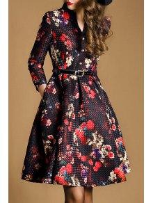 Floral V Neck Nine-Minute Sleeves Flare Dress - Red With Black