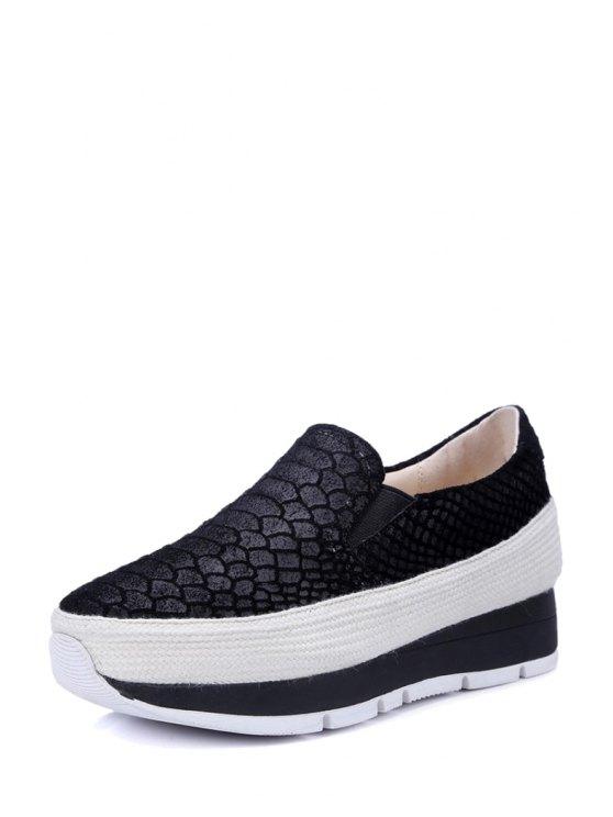 Embossing Elastic Solid Color Platform Shoes - BLACK 35 Mobile
