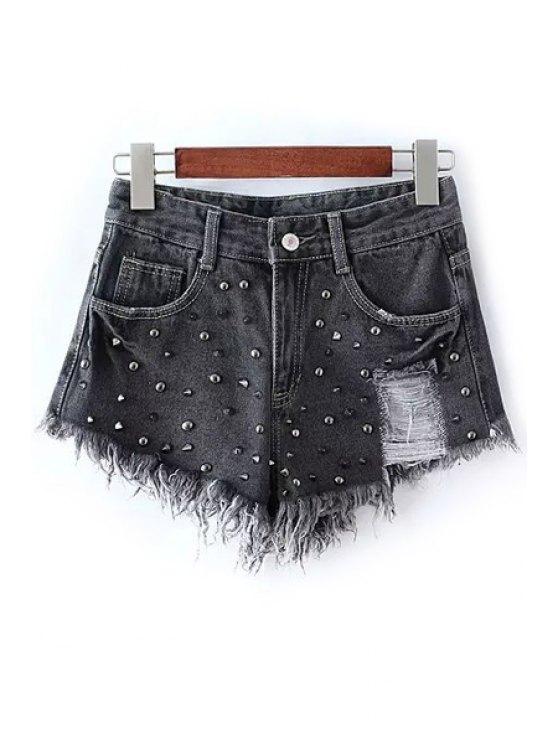 shops Rivet Embellished Frayed Denim Shorts - BLACK L