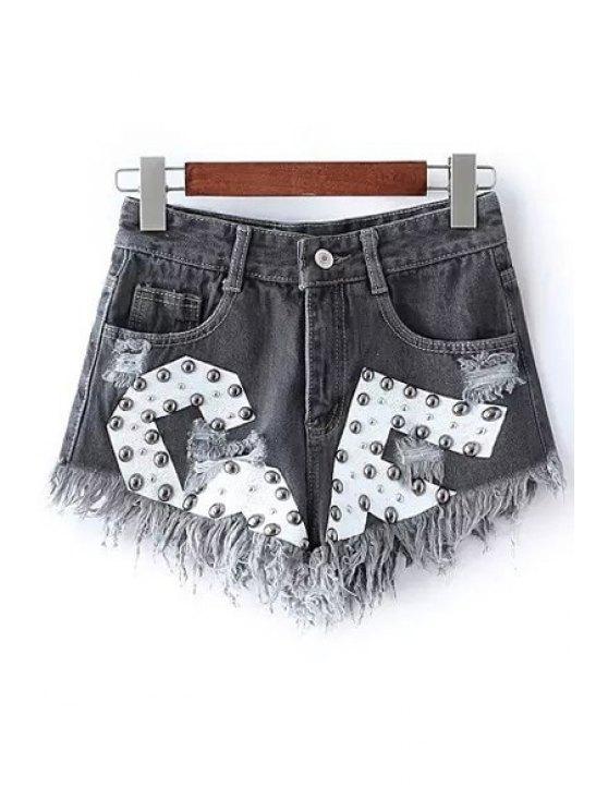 lady Rivet Design Frayed Denim Shorts - BLACK L
