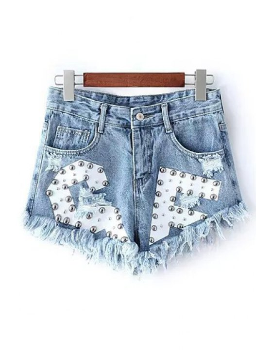 chic Rivet Design Frayed Denim Shorts - LIGHT BLUE S