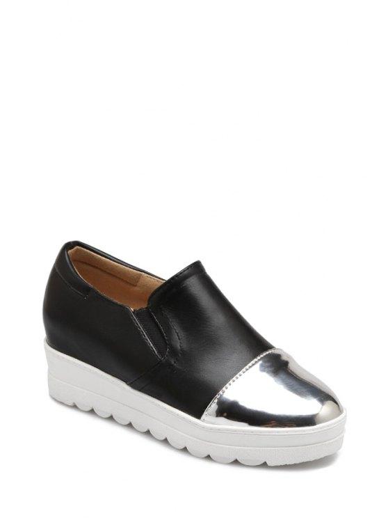 Bloque de color elástico de la Ronda del dedo del pie zapatos de plataforma - Negro 36