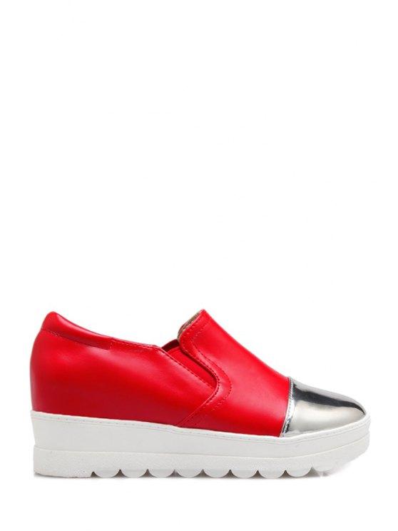 Bloque de color elástico de la Ronda del dedo del pie zapatos de plataforma - Rojo 34