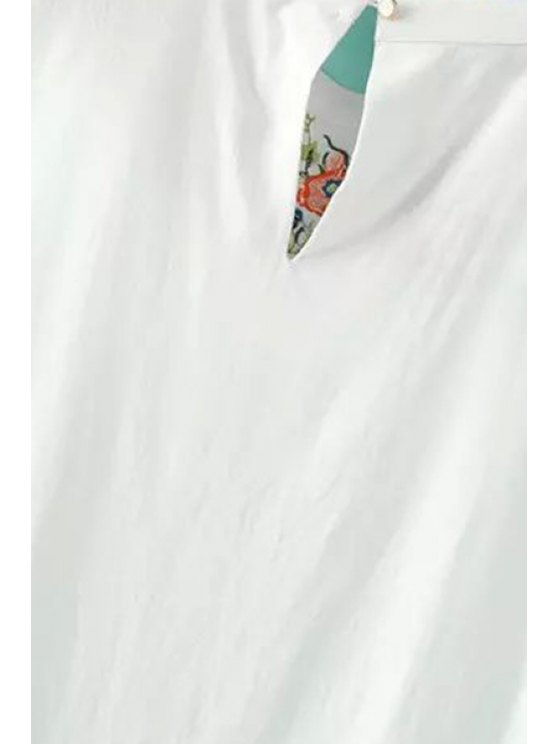 Embroidered White Tank Top - WHITE L Mobile