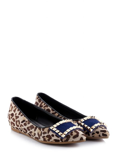 affordable Pointed Toe Leopard Print Rivet Flat Shoes - LEOPARD 39 Mobile