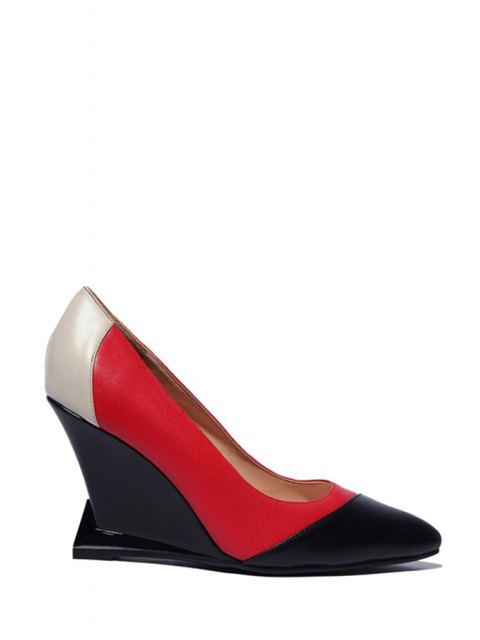 fancy Pointed Toe Color Block Wedge Shoes - RED 37 Mobile