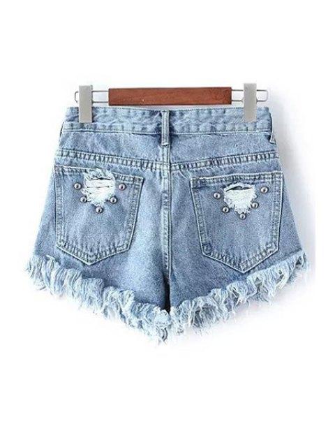 chic Rivet Design Frayed Denim Shorts - LIGHT BLUE S Mobile