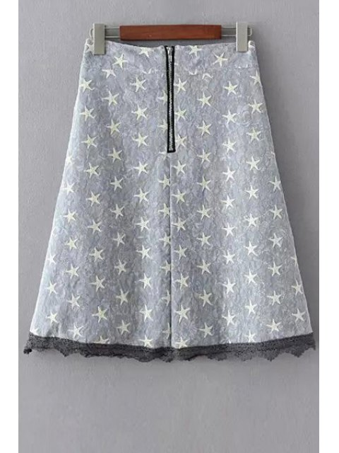 sale Polka Stars Combined Lace A-Line Skirt - GRAY L Mobile
