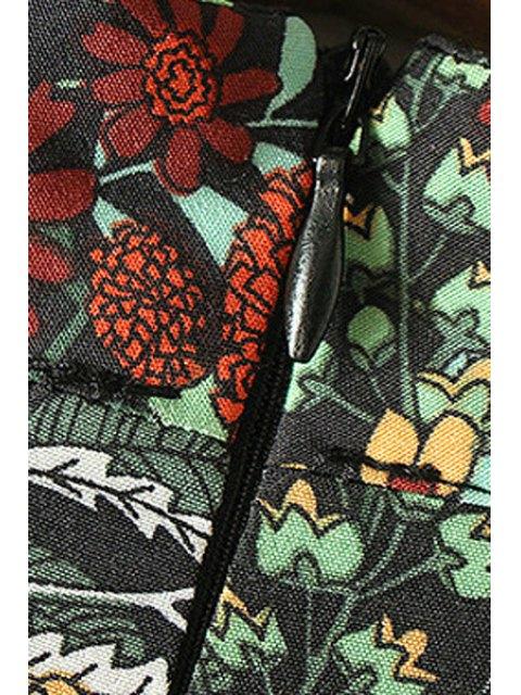 chic Mock Neck Kimono Sleeve Full Floral Dress - COLORMIX L Mobile