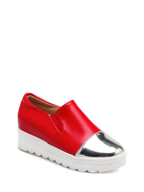 affordable Color Block Elastic Round Toe Platform Shoes - RED 39 Mobile