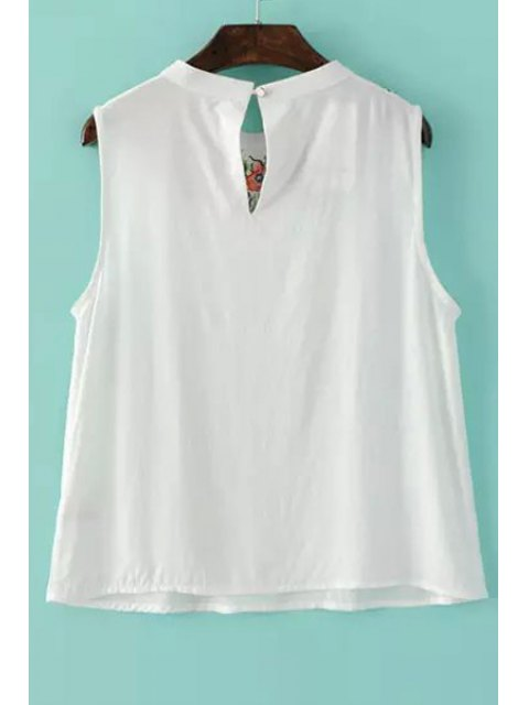 women's Embroidered White Tank Top - WHITE S Mobile