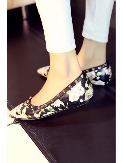 Pointed Toe Flower Print Rivets Flat Shoes - BLACK 37 Mobile