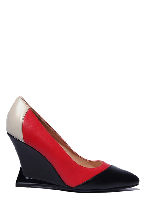 Pointed Toe Color Block Wedge Shoes - RED