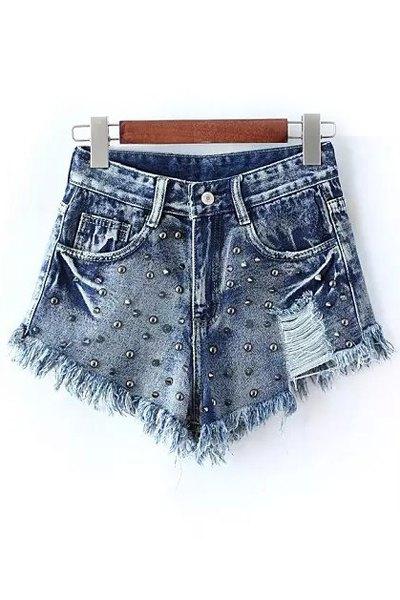 Bleach Wash Rivet Embellished Frayed Denim Shorts