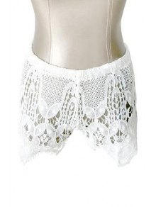 Hollow Out White Shorts