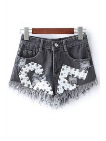 Rivet Design Frayed Denim Shorts