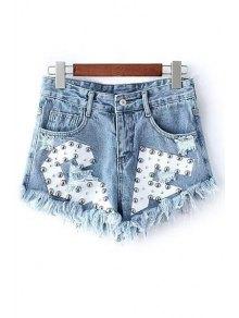 Rivet Design Frayed Denim Shorts - Light Blue L