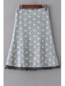 Polka Stars Combined Lace A-Line Skirt