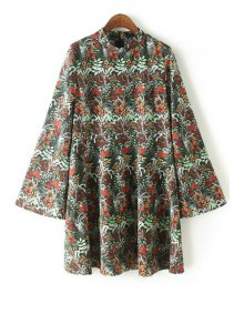 Mock Neck Kimono Sleeve Full Floral Dress - Xl