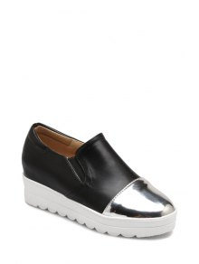Color Block Elastic Round Toe Platform Shoes - Noir