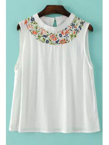 Embroidered White Tank Top